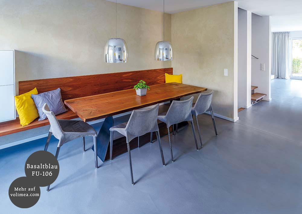 Wand und Bodenbeschichtung im Küchenbereich und Futado Esszimmer Basaltblau FU-106