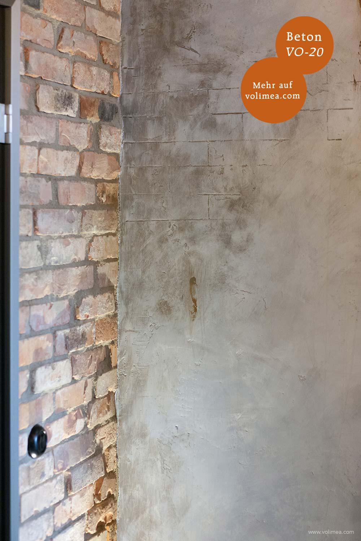Mikrozement fugenlose Volimea Wandbeschichtung Büro - Beton VO-20