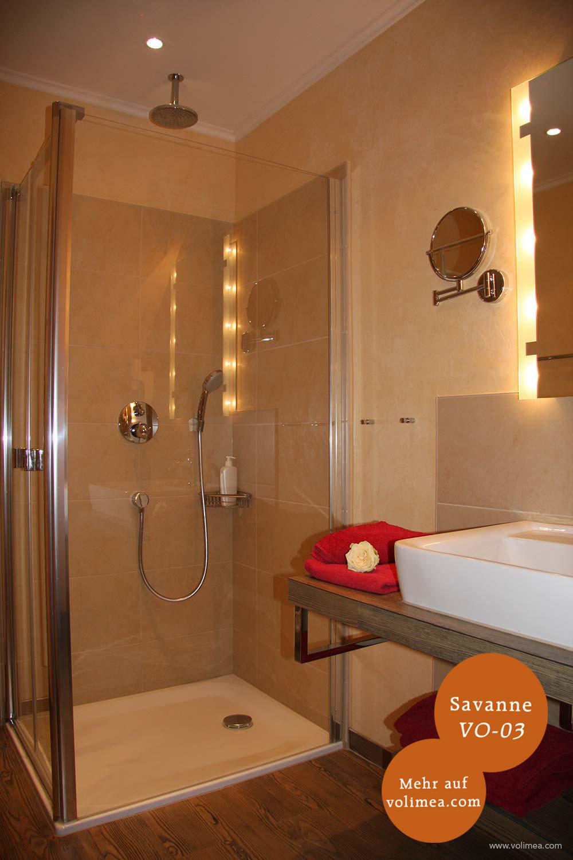 Mikrozement fugenlose Volimea Wandbeschichtung im Badezimmer - Savanne VO-03