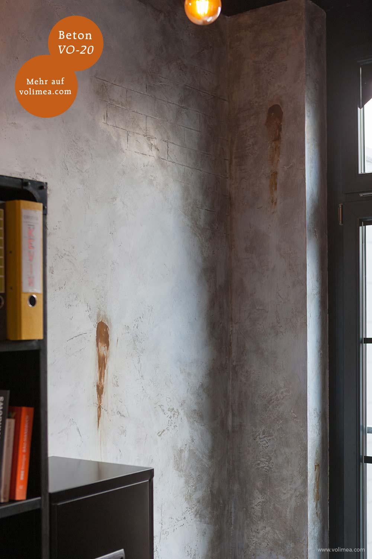 Mikrozement fugenlose Volimea Wandbeschichtung im Büro - Beton VO-20