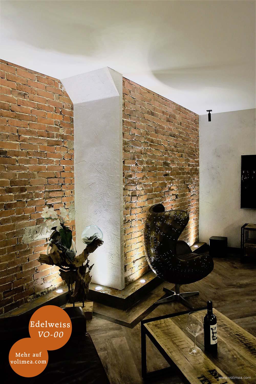 Mikrozement fugenlose Volimea Wandbeschichtung in einem Gastraum - Edelweiss VO-00