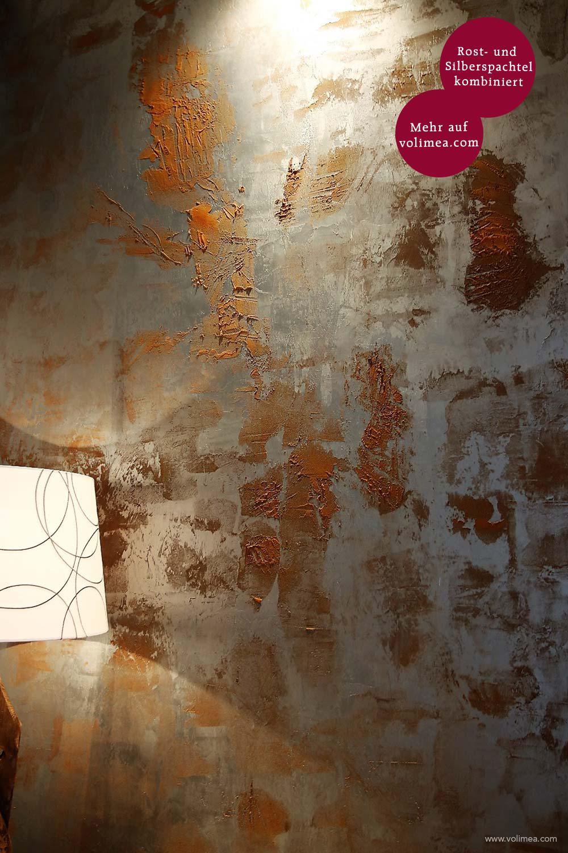 Mikrozement fugenlose Grandezza Wandbeschichtung Rost- und Silberspachtel kombiniert