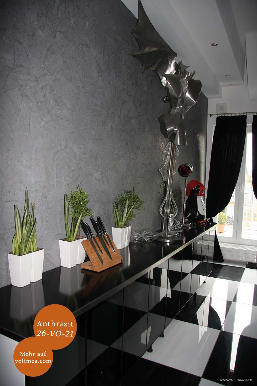 Mikrozement fugenlose Volimea Wandbeschichtung in einem Hotel - Anthrazit 26-VO-21